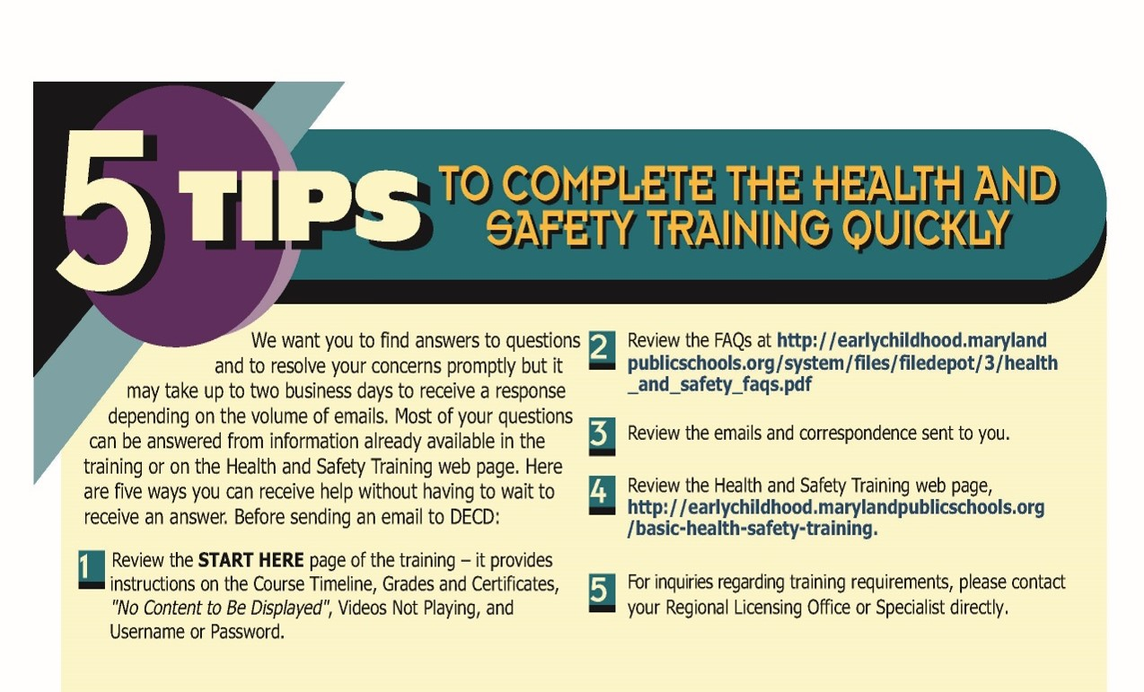 Basic Health Safety Training Division Of Early Childhood