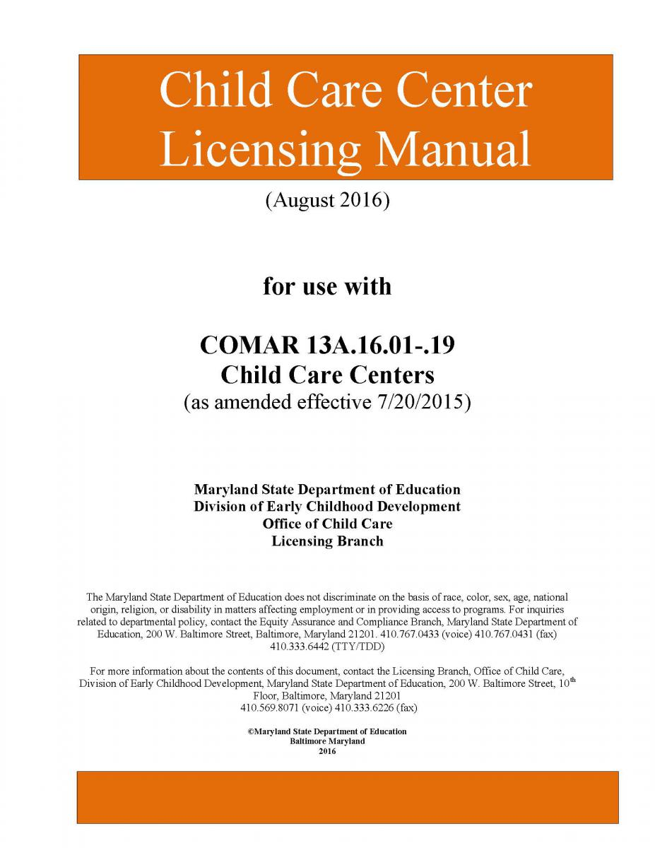 Child Care Center Licensing Manual Cover