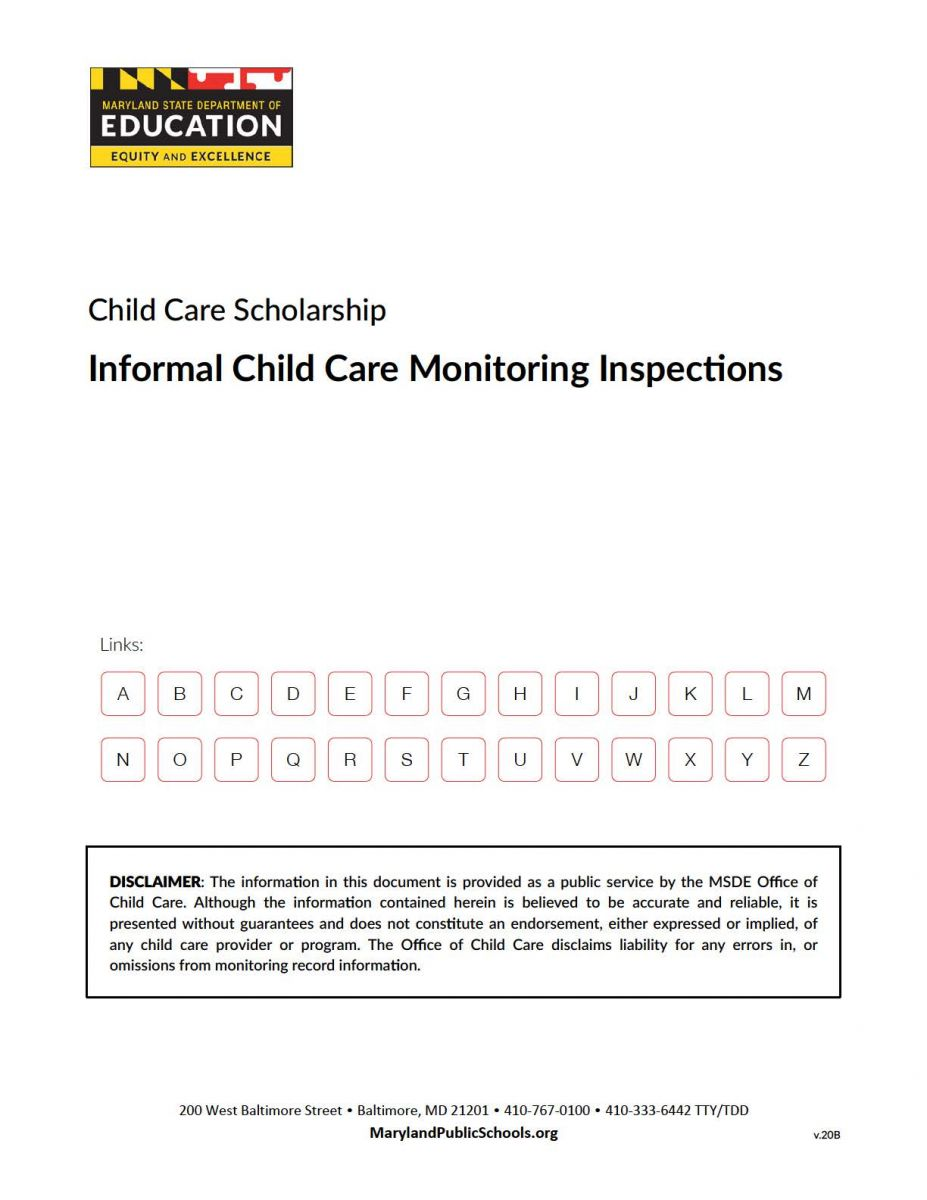 Informal Child Care Monitoring Inspections Cover