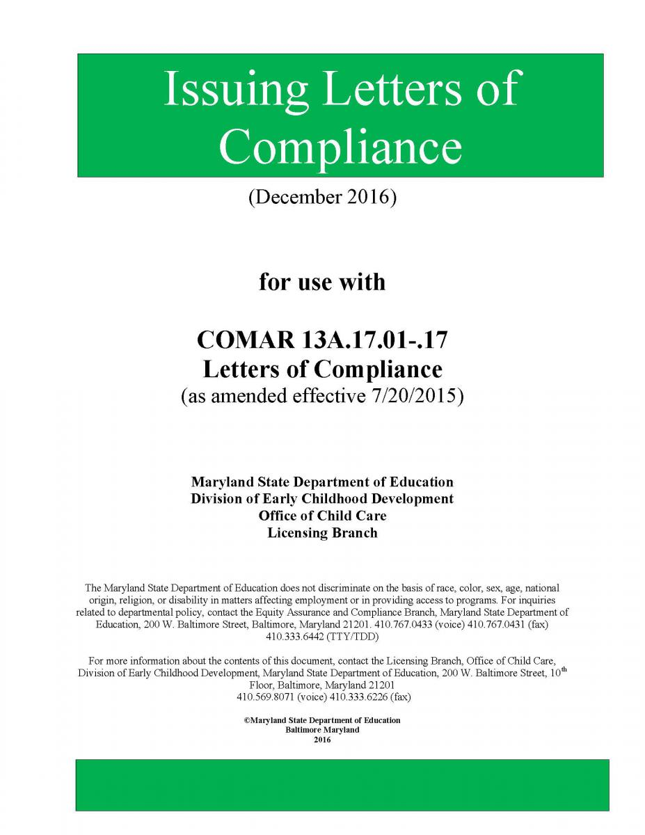 letters of compliance manual