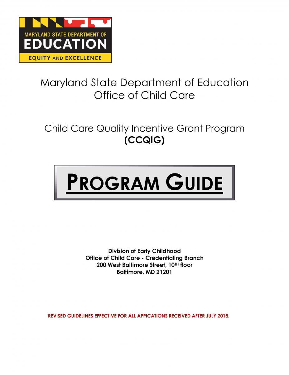 Child Care Quality Incentive Grant Program Guide Cover